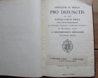 Latin Missile Religious Book 1947 Printed in Belgium Officium Et Missae Pro Defunctis