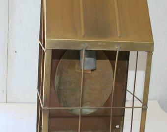 Industrial Chic Wire Cage Metal Bronze Door Porch Outside Light, Patina Elements - 1970s Era Door Light