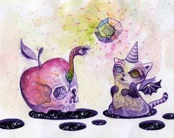 Mysterious Encounters - whimsical halloween art, original watercolour painting, surreal art, trippy art, cat art, whimsical illustration