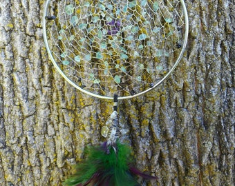 Fluorite Crystal Hand-Woven 5 Inch SilverTribal Bohemian Dream Catcher by The Emerald Lotus