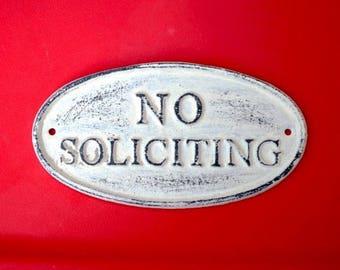 NO Soliciting cast iron sign/ No soliciting Metal Sign / No solicitation sign