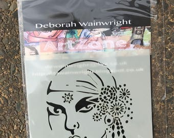 Boho Jane - Stencil - Deborah Wainwright - Mixed Media
