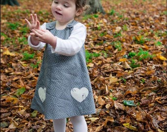 Little robin reversible print pinafore dress, baby girl, christmas dress,