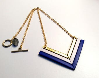 cobalt gold and White Leather necklace