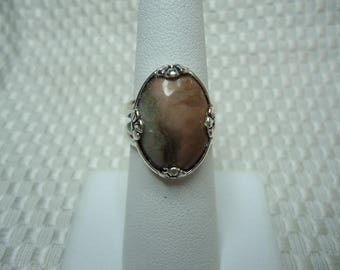 Oval Cabochon Cut Rhodonite Ring in Sterling Silver  #2053