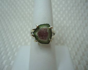 Watermelon Tourmaline Slice Ring in Sterling Silver  #2063