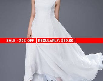 Chiffon Dress, white chiffon dress, simple wedding dress, simple white dress, long white dress, white prom dress, summer wedding dress  C879