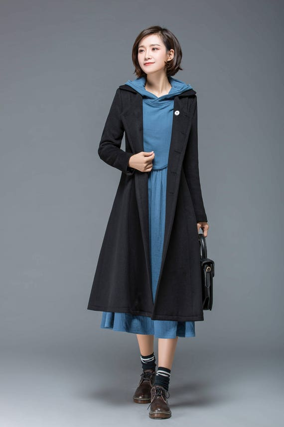 Black coat wool coat coat long coat winter coat midi