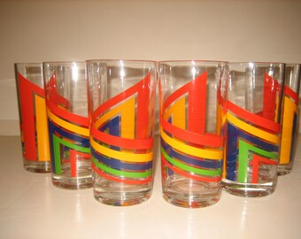 Vintage Multi Stripe Geometric Design Hi-Ball Tumblers