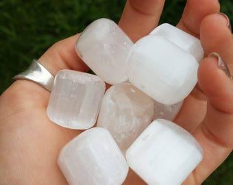 5 Small Selenite Pocket Stones- Polished Smooth Satin Spar circlular barrel rock transformation spiritual activation aura cleanse reiki