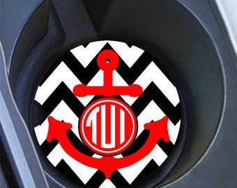Monogram anchor, Gift for teen girls, Personalized red car coaster, Red and black , Chevron auto decor for girls (1408)