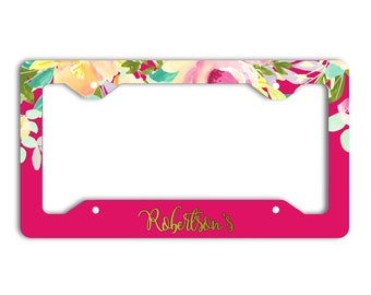 Personalized floral license plate frame, Maroon pink green, Faux gold foil name, Inexpensive Christmas present for her, Gift under 20 (1800)