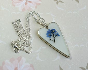 Forget Me Nots Necklace, Flower Necklace, Pressed Flower Necklace, Romantic Gifts, Anniversary Gift, Gifts for Mum, Dried Flower Necklace