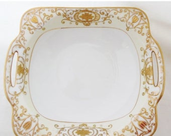 ON SALE Noritake, 175, Christmas Ball, Bowl, Gold, Scroll, Japan, Square, Vegetable, Bowl , 1918, Hand Painted, Gold, Cream, Antique, Vintag