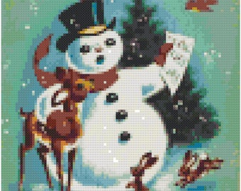 Vintage Snowman and Deer Cross Stitch Pattern, Digital Download PDF