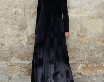 SALE ON 20 % OFF Black Velvet Dress / Long Sleeve Maxi Dress / Party Dress / Plus Size Evening Dress / Long Dress