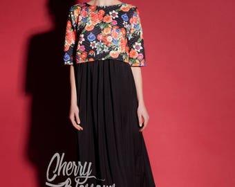 SALE ON 20 % OFF Floral Maxi dress/ Summer Dress / Maxi dress / Long Dress / Party Dress / Spring Dress/ Plus Size Evening Dress / Long Blac