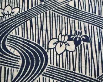 Indigo Roketsuzome Vintage Japanese cotton yukata fabric. Vintage kimono fabric