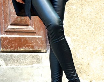 SALE NEW COLLECTION Black Extra Long Leggings / Faux Leather Front  / Viscose Elastic Back by Aakasha A05139