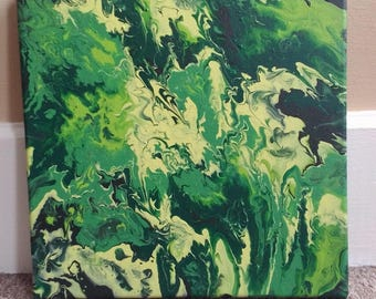 """Green Acrylic Pour Painting 10"""" x 10"""""""