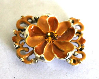 3 Vintage Topaz Double Strand Floral and Rhinetone Bracelate Focal Piece