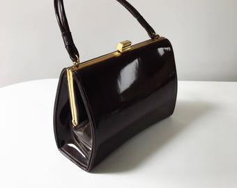 Beautiful 1950s Vintage Brown Patent Leather Handbag with Gold Clasp