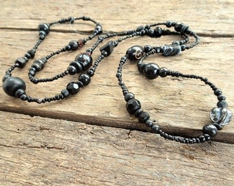 Black long beaded necklace, long necklace, beaded necklace, black necklace, black bead necklace, long black necklace, long beaded necklace