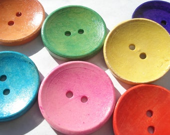 30mm Wood Sewing Buttons, 2-Hole Mixed Wooden Buttons, Pack of 6 Mixed Colour Buttons, W309M