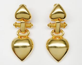 80s Vintage Couture Heart GIVENCHY Drop Earrings - Excellent Vintage Condition  - Perfect Unique Valentine Gift For Her