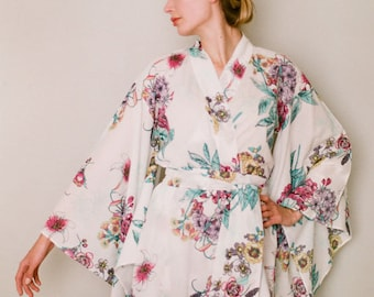 """One ready made long """"Noguchi"""" kimono robe in a soft cotton fabric. Long womens robe or dressing gown. Long tall bridal robe. US size 4-6."""