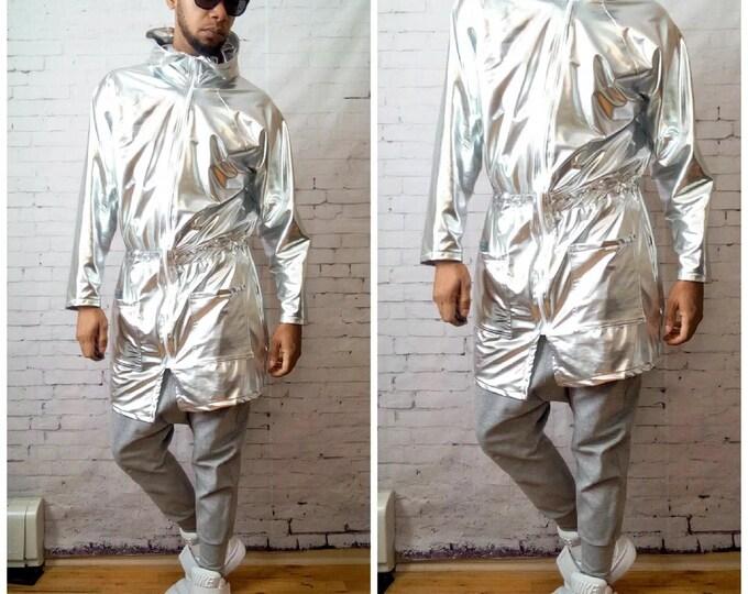 Silver Metallic Parka Jacket Coat Balmain Gucci