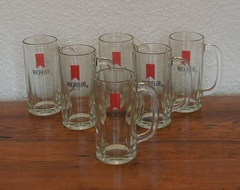 Vintage Michelob Beer Glass Mugs Lot of 6 Red Ribbon Logo