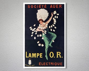 Lampe O.R. Electrique Vintage Poster by Leonetto Cappiello - Poster Paper, Sticker or Canvas Print