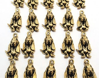 20 Gold Tone Pewter Basset Hound Charms- 1753