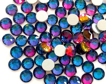 Blue Flames Rhinestones Flat Back Loose faceted Rhinestone Supplies 1440pc AB Rainbow
