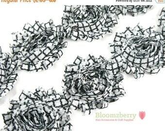 "Summer SALE 10% OFF 2.5"" Printed Shabby Rose Trim-  White/Black Quatrefoil- Frayed- Quatrefoil Shabby Trim- Printed Shabby Trim - Hair Acces"
