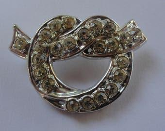 Vintage Rhinestone Knot Tie Brooch Pin