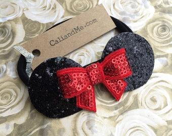 Baby Mickey Mouse Ears, Mouse Ears Headband, Newborn Minnie Bow, Mouse Ears Nylon Headband, Disney Baby Girl Headband, Newborn Disney, Baby