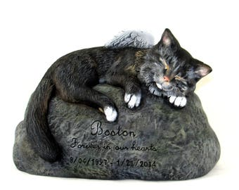 Custom for Brittany UPGRADED shipping Ceramic Engraved Painted medium haired Bottom Loading Cat Cremation Urn - hand made pet urn