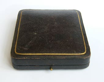 Anitque-Victorian-Leather Clad Jewellers Fob Pocket Watch Box-circa 1890's
