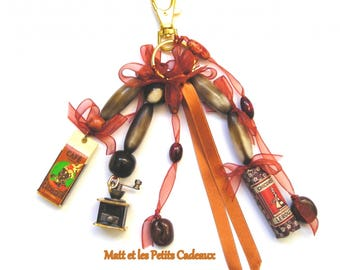 """Unique """"coffee"""" themed bag charm, beads, ribbons and charms."""