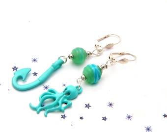 Pearl drop earrings dissociated glass Lampwork sea marine Green 1