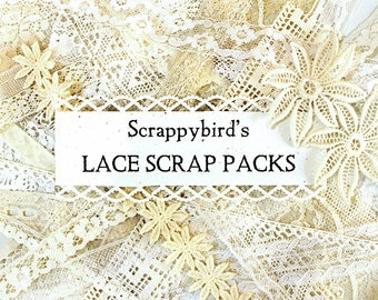 Vintage Lace Scrap Pack*Ecru and White Lace Grab-Bag*Vintage Lace*Mixed Media Supplies*Fiber Art Supplies*Craft Supplies