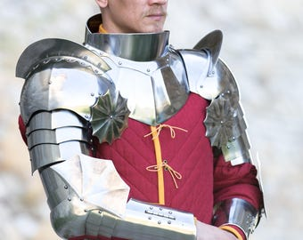 "Steel Pauldrons and Gorset Set ""Black Knight""; Medieval Pauldrons; Arm Armor; Pauldrons; Steel Gorget; Fantasy Style Armor"