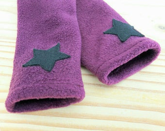 Plum star polar mitts black