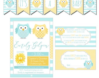 Digital Neutral Ocean Owls Nautical Baby Shower Decorations Package Banner, Games, Diaper Raffle, Cupcake Toppers, Water Labels  CPP008