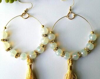 Hoop Earrings, Bead Earrings, Gold and Opal, Tassel Earrins