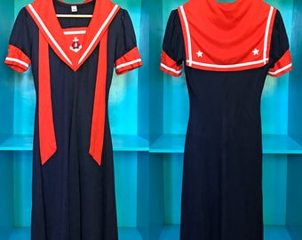 VTG 60s / 70s Sailor Dress Navy Blue And Red With White Anchor & Stars Vintage Costume