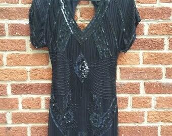 Vintage 80s Sequin Evening Dress  // Silk Beaded Party Dress // Curve Hugging Size 6