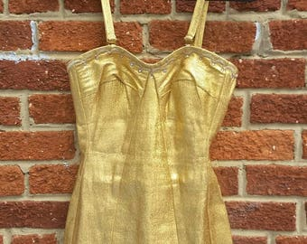 Vintage 1950's Gold Lame Swimsuit // DeWeese Designs // Lurex and Rhinstones // VLV